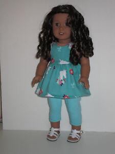 "Unicorn & Flowers/Teal Capri Leggings for 18"" Doll Clothes American Girl"