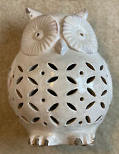 """NEW Pottery Barn Punched Ceramic Owl Luminary 11"""" H Sculptural Terra Cotta Decor"""