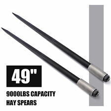 49 9000 lbs Hay Spears Nut Bale Spike Fork Tine Black pair Square Wide Tine