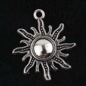 Free Ship 52Pcs Tibetan Silver Sun Pendants Charms For Jewelry 24mm ABF32