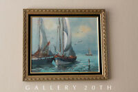 WOW! BOTTO MID CENTURY BOATS OIL PAINTING! SEASCAPE VTG 1950S SHIPS ART SAILING