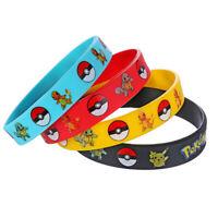 Cute 4PCS Pokemon Go Pikach Wristband Silicone Bracelet Party Gift Color-Random