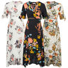 Maacie Women Maternity Floral Pattern Short Sleeve V-Neck Wrap Front Rayon Dress