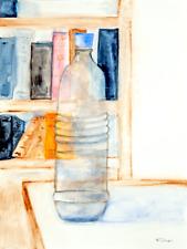 Water Bottle Original Watercolor Painting Modern French Art Neal Turner NR