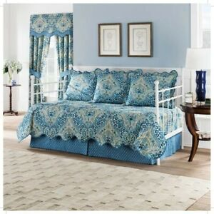 Blue Damask Moonlit Shadows Reversible Daybed Set 5pc - Waverly