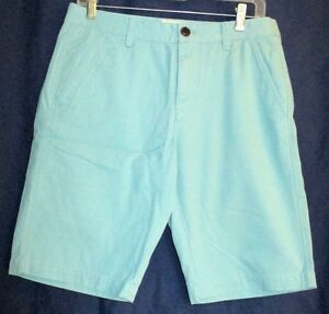 NEW **FOSSIL**   Pre Wash Turquoise 100% Cotton, Flat Front, Shorts, 30