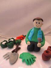 man Gardener gardening  figure, veg/tools/pots birthday cake topper, grandad