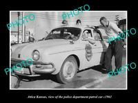 OLD 8x6 HISTORIC PHOTO OF ATTICA KANSAS THE POLICE PATROL CAR c1961