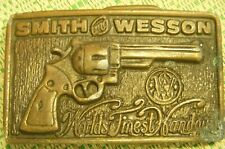 VTG Smith & Wesson World's Finest Handgun Brass Belt Buckle Free Ship