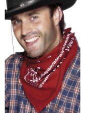 Cowboy Bandana Neckerchief Red Wild West Cowgirl Fancy Dress Bandanna Accessory
