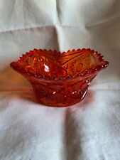 """Vintage Amberina Red Orange Daisy & Button 6"""" Bowl Saw Tooth Edges"""