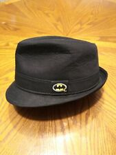 Batman Size (s14) Black Embroidered Logo Fedora Hat Pre-owned