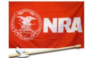 NRA 3' x 5' Flag, Pole And Mount.