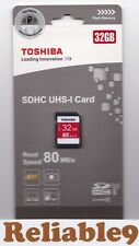 Toshiba - 32GB SDHC UHS-I Card 80MB/s Class10 Sealed  RoHS compatible 4k