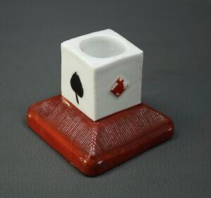 Art Deco Antique Porcelain Match Striker Matchstick Holder Playing Card Casino