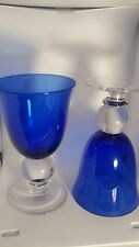 Casual Settings Set of 2 Water Goblets Cobalt Blue ball Glasses
