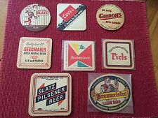 8 Vintage Beer Coasters: Blatz, Stegmaier, Gibbons, Piels and Braumeister