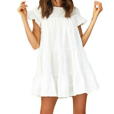 Women Casual Ruffle Solid ALine Short Sleeve Mini Dress Evening Party Dress CA