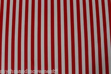 Dance Costume Lycra Fabric Red and White Vertical Stripe 50cm - 150cm wide