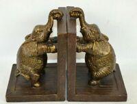 "Pair of Resin Elephant Bookends Figurines 6.5 x 4.25"" Bookshelf Holders"