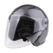 Dual Visors Motorcycle Bike 3/4 Jet Open Face Helmet Full Shield Grey M