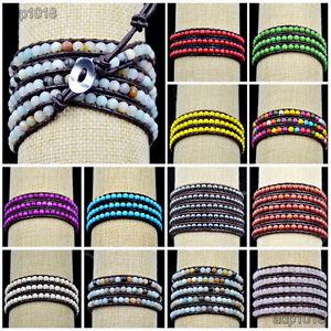 Hot Handmade Mixed Crystal and Gemstones Beads Wrap Leather Bracelet