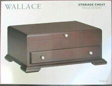 Wallace Dark Walnut Federal Single Drawer Footed Flatware Storage Chest - Sale
