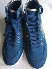 GUESS Denim & Silver Hi Top Trainer Boots, Size 5.5