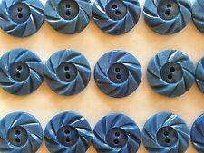 "Vintage Buttons - 24 Steel Blue Color Casein 2-Hole 7/8"" Wheel Buttons - France"