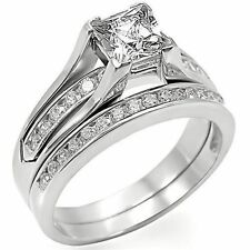 Princess Cut White Cz 925 Sterling Silver Wedding Engagement Ring Set Size 9