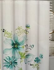 "Cynthia Rowley Fabric Shower Curtain ""Bloom Floral"" Watercolor Teal,blue, Lime"