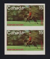 Canada Sc #614a (1973) 15c RCMP IMPERFORATE PAIR Mint VF NH MNH