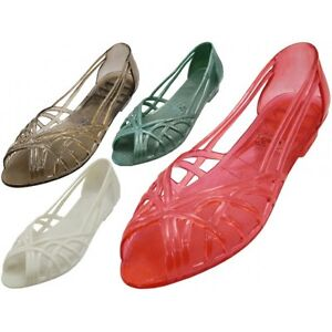 Women's Smooth Jelly Sandals Shoes Teal Red Clear Black White Sizes 6-10 New