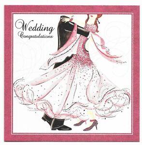 Wedding Congratulations Stylish Couple Glitter Greetings Card by Tracks