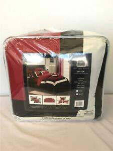 **Chic Home 10-Pc Duke Bed in A Bag Comforter Set King Color Block Red CS1455