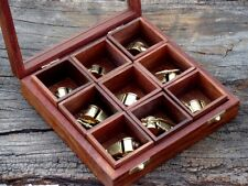 Nautical Brass Beautiful Scout Whistle Key Chain With Wooden Box Lot Of 9 pcs.