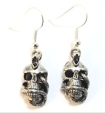Pewter Skull with Snake Charms on Sterling Silver Ear Wire Dangle Earrings-5212