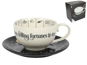 Fortune Telling White W/Black Saucer Ceramic Tea Cup w/Instructions Spiritual