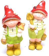 Zwerge Gartenfigur Dekofigur Paar Pilz Gartendeko Gartenwichtel Figur Keramik