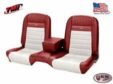 Deluxe PONY Seat Upholstery Ford Mustang Coupe Front/Rear Bench - Red & White