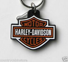 Harley Davidson Motorcycles Rubberized Logo Key Ring Keychain Chain 2.1 inches