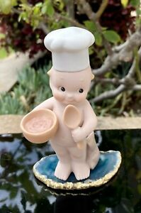 Vintage '92 Jesco Rose O'Neill Bisque Porcelain Kewpie Doll Chef Tiny Blue Wings
