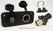 Sea Watertight Dual USB Charger + Heavy Duty Power Socket + Plug Blue Dash Boat