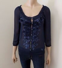 Abercrombie Womens Size Small Sheer Floral Top Shirt Navy Blue Chiffon Blouse