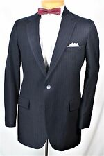 VTG BLUE PINSTRIPE PLUSH WOOL 2 pc SUIT 38 L 32 x 29 GATSBY GANGSTER  MOD INDIE