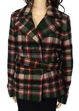Polo Ralph Lauren Green Red Womens 12 Double-Breast Tratan Plaid Wool Coat $598