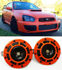 FOR SUBARU IMPREZA WRX STi GF GDB ORANGE 12V GRILL MOUNT COMPACT SUPER LOUD HORN
