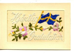 WWI Embroidered Cloth Congratulations-Blue & Gold Foreign Flag-Vintage Postcard