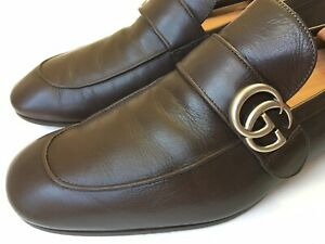 GUCCI Donnie Web GG Loafer Men's Brown Leather Shoes Size 10.5 UK (11 US)