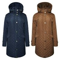 Ladies Water Repellent Quilted Warm Zip Hooded Winter Puffa Coat Size 10 to 24